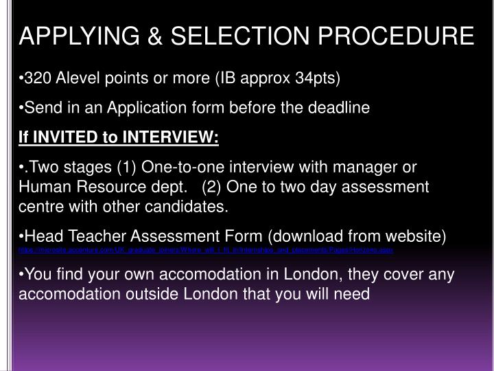 APPLYING & SELECTION PROCEDURE
