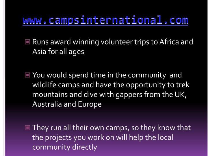 www.campsinternational.com