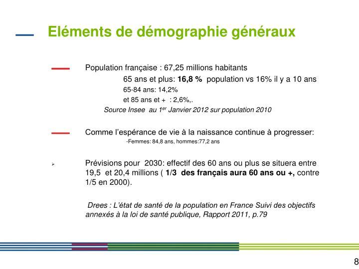 Eléments de démographie généraux