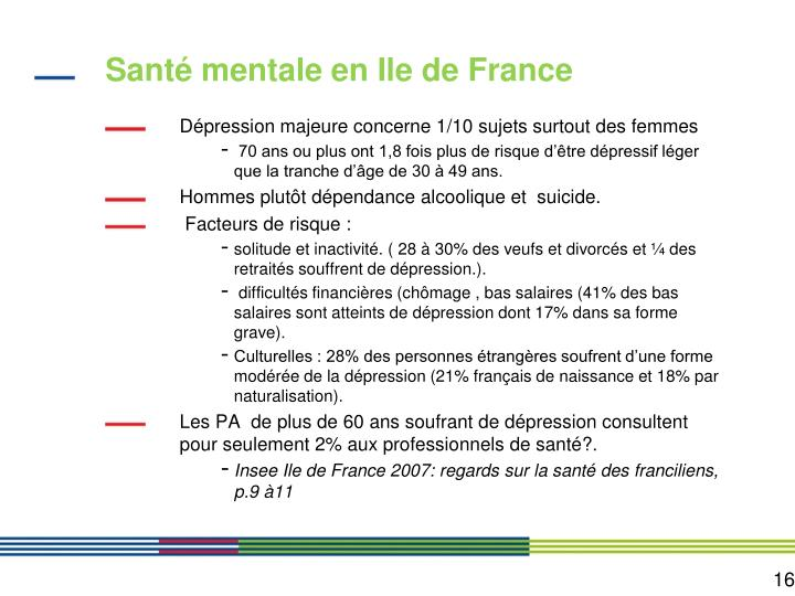 Santé mentale en Ile de France