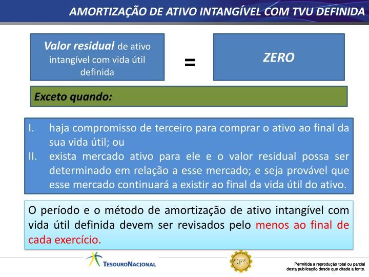 AMORTIZAÇÃO DE ATIVO INTANGÍVEL COM TVU DEFINIDA
