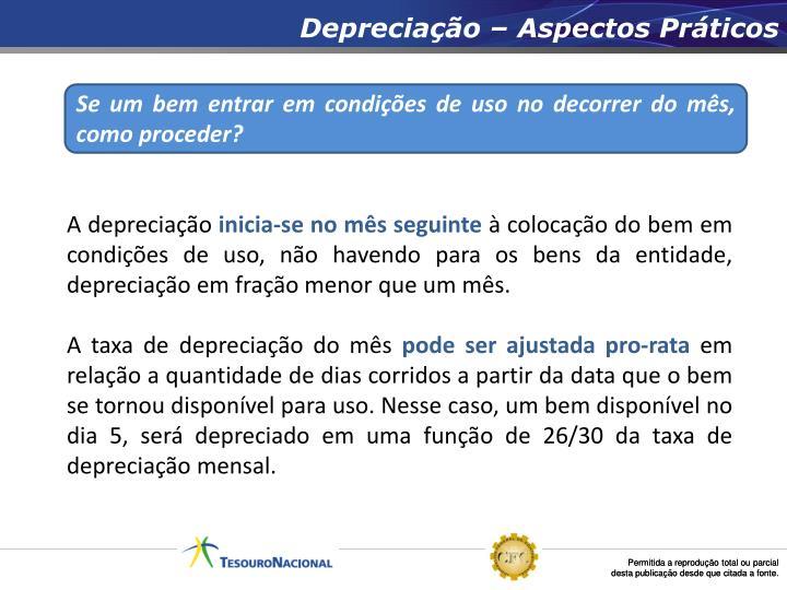 Depreciação – Aspectos Práticos