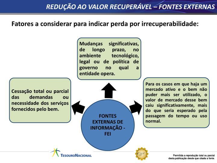 REDUÇÃO AO VALOR RECUPERÁVEL – FONTES EXTERNAS