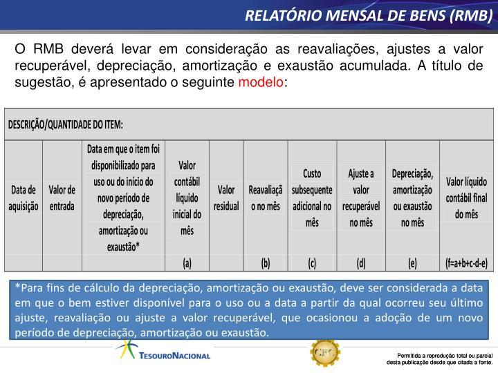 RELATÓRIO MENSAL DE BENS (RMB)