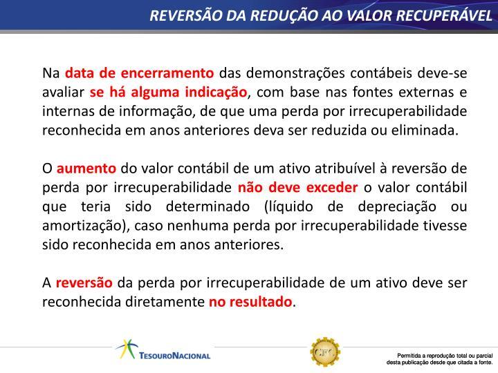 REVERSÃO DA REDUÇÃO AO VALOR RECUPERÁVEL