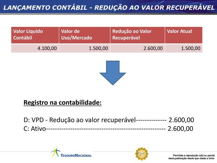 LANÇAMENTO CONTÁBIL - REDUÇÃO AO VALOR RECUPERÁVEL