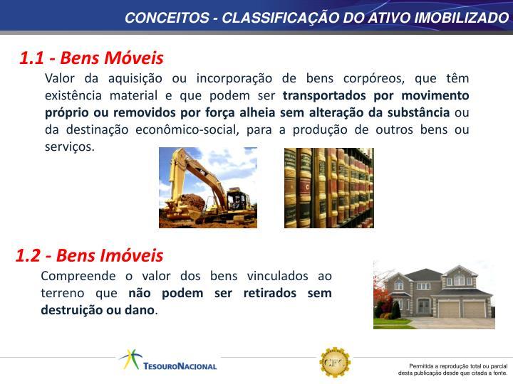 CONCEITOS - CLASSIFICAÇÃO DO ATIVO IMOBILIZADO