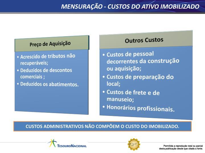 MENSURAÇÃO - CUSTOS DO ATIVO IMOBILIZADO