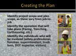 creating the plan