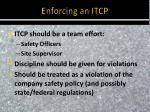 enforcing an itcp