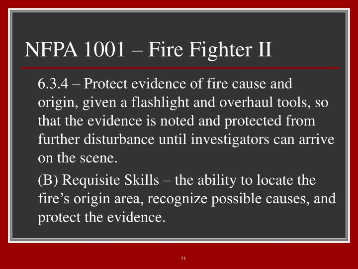 NFPA 1001 – Fire Fighter II