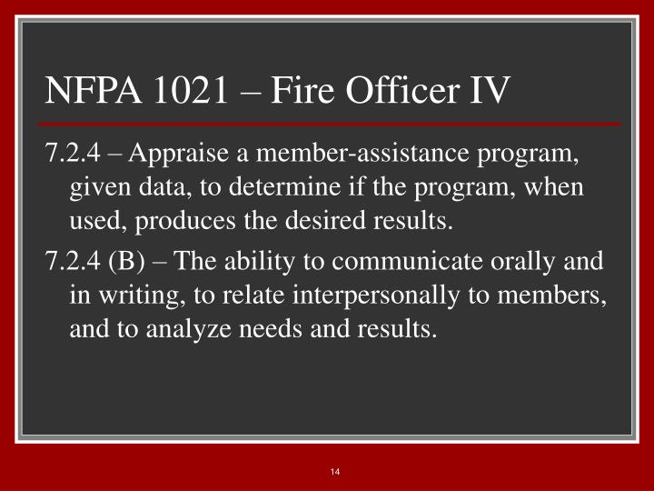 NFPA 1021 – Fire Officer IV