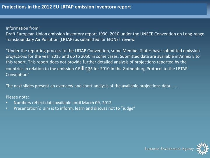 Projections in the 2012 EU LRTAP emission inventory report