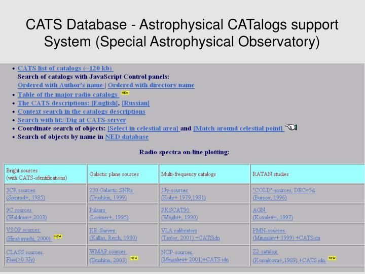 CATS Database - Astrophysical CATalogs support System