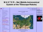 m a s t e r net mobile astronomical system of the telescope robots