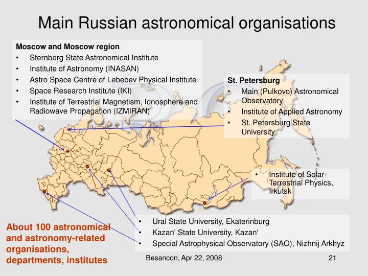 Main Russian astronomical organisations