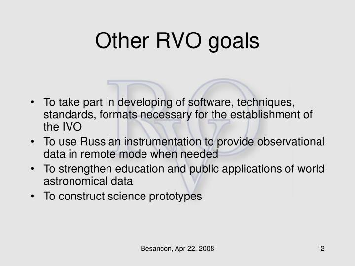 Other RVO goals