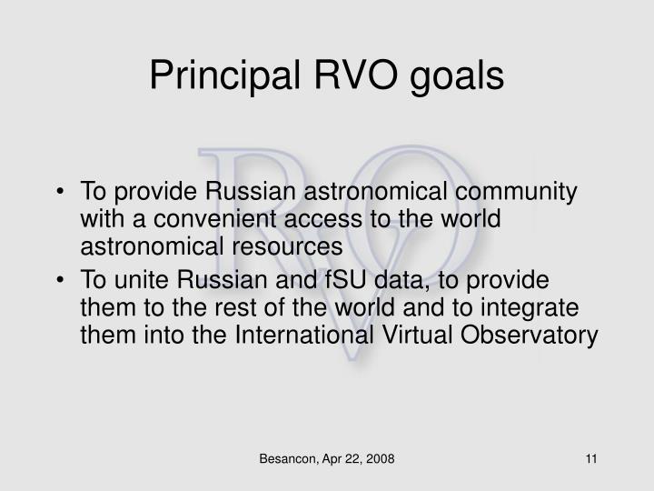 Principal RVO goals