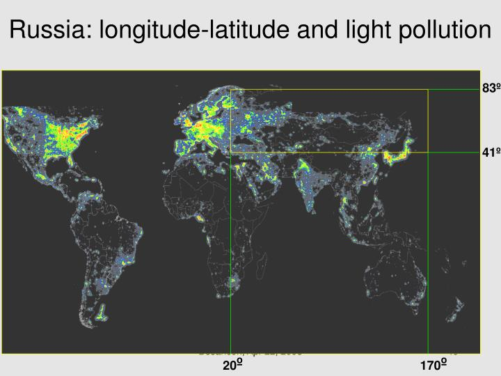 Russia: longitude-latitude and light pollution