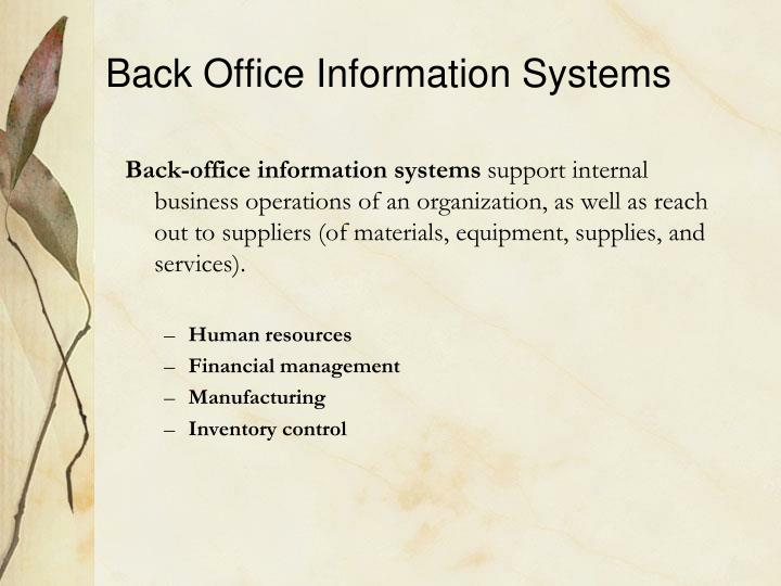 Back Office Information Systems