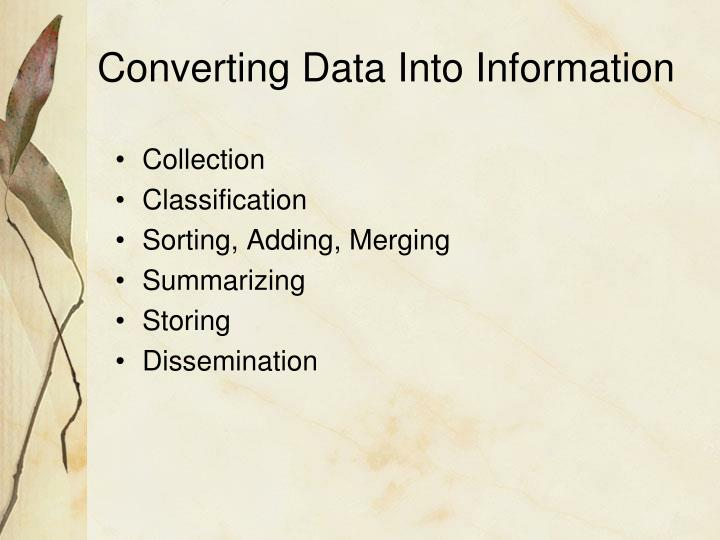 Converting Data Into Information