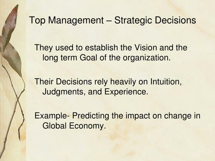 Top Management – Strategic Decisions