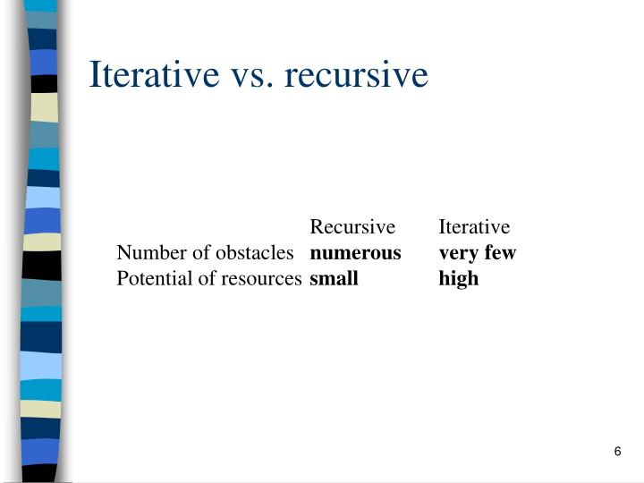 Iterative vs. recursive