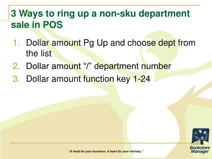 3 Ways to ring up a non-sku department sale in POS