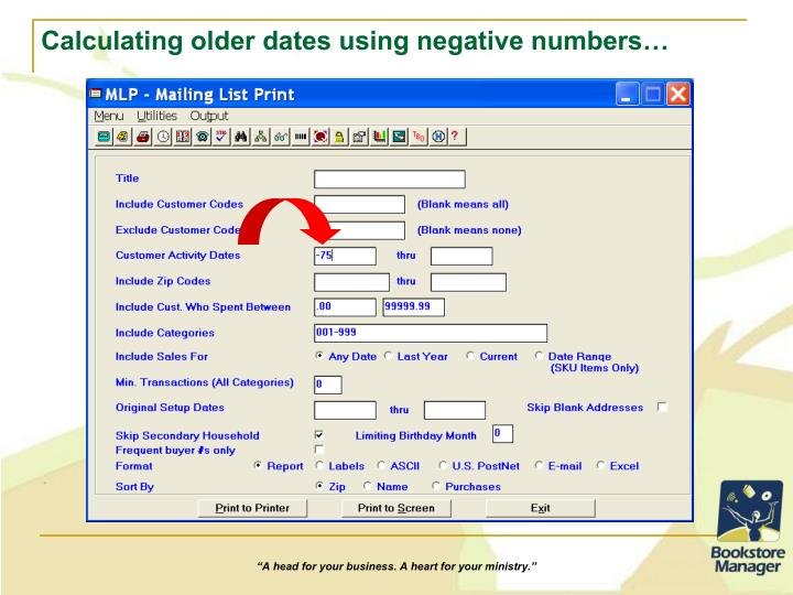 Calculating older dates using negative numbers…