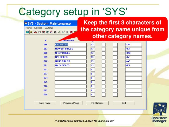 Category setup in 'SYS'