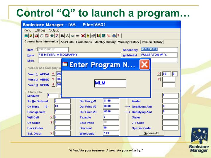 "Control ""Q"" to launch a program…"
