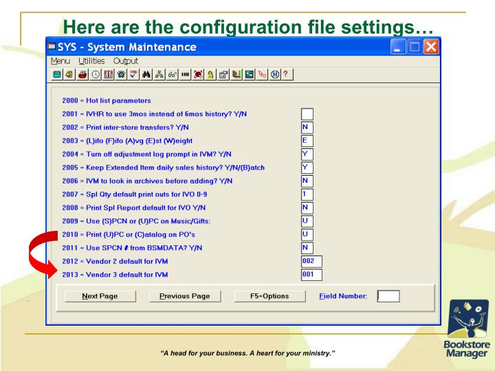 Here are the configuration file settings…