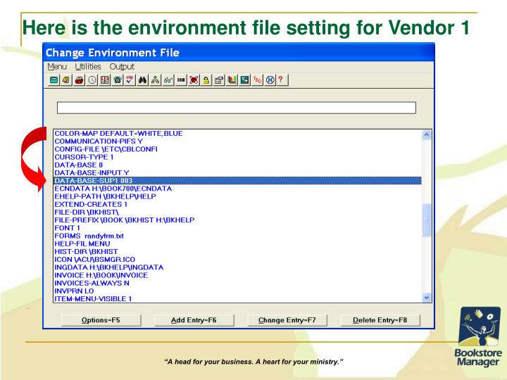 Here is the environment file setting for Vendor 1
