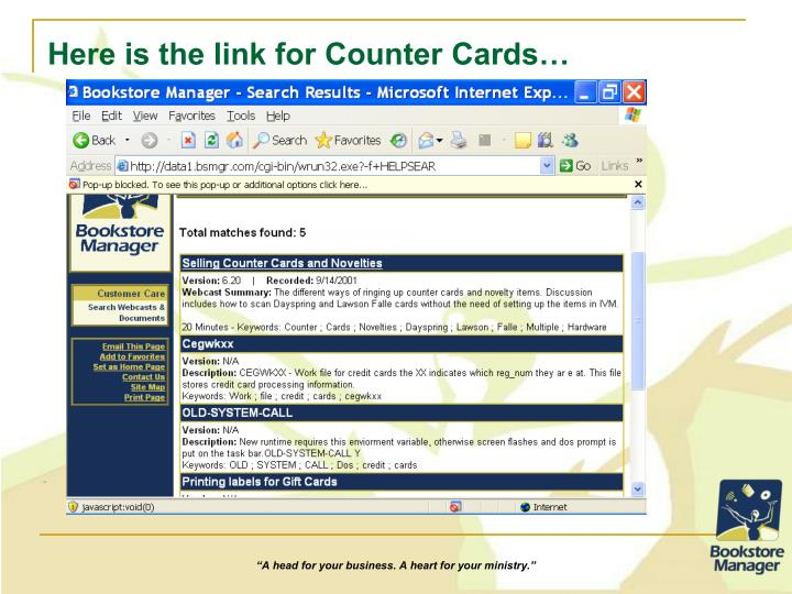 Here is the link for Counter Cards…