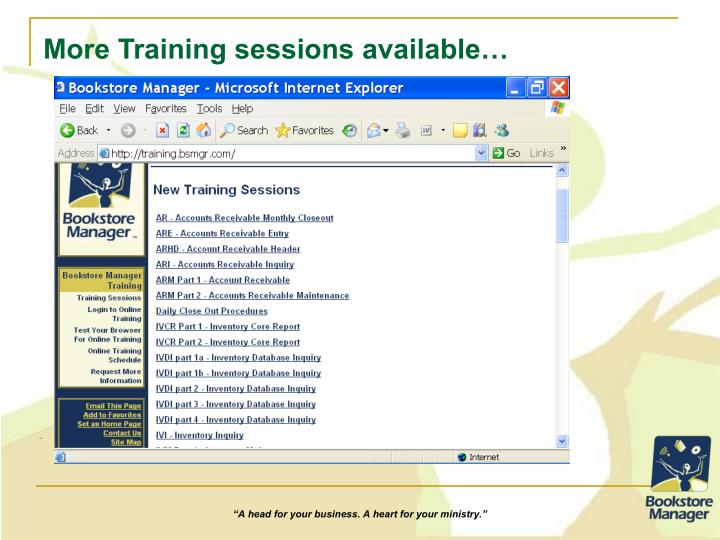 More Training sessions available…