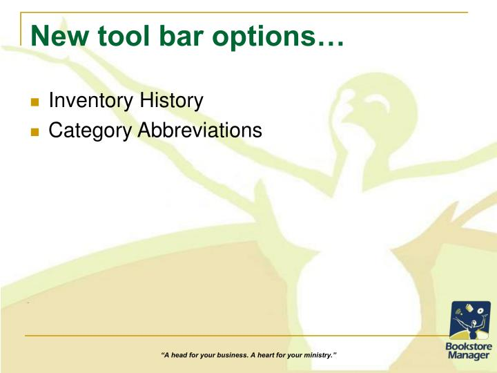 New tool bar options…