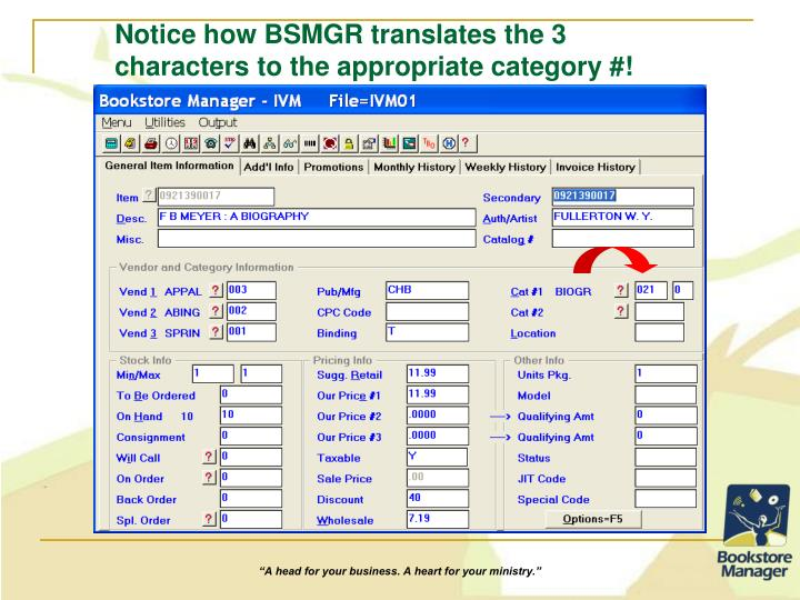 Notice how BSMGR translates the 3 characters to the appropriate category #!