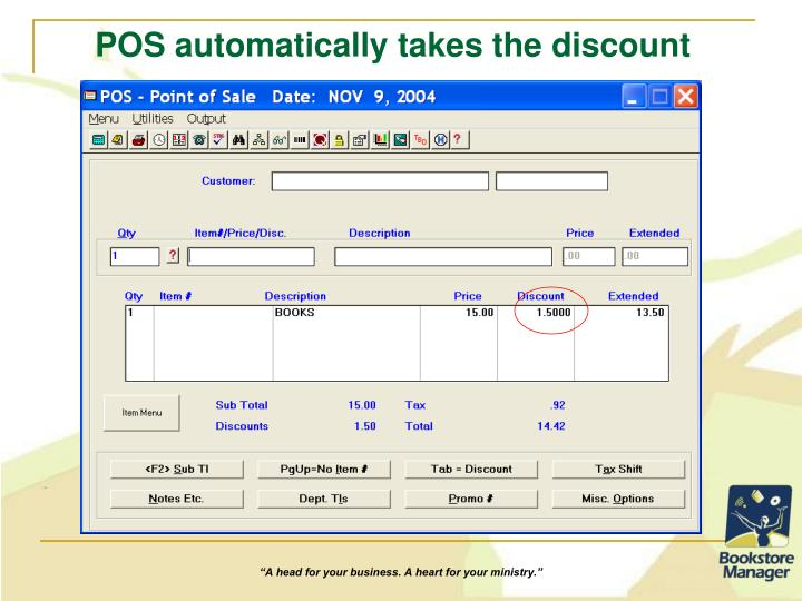 POS automatically takes the discount