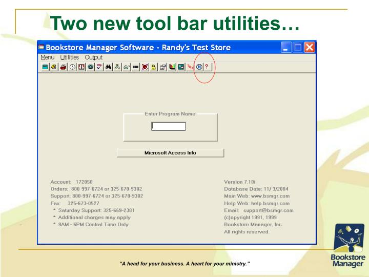 Two new tool bar utilities…