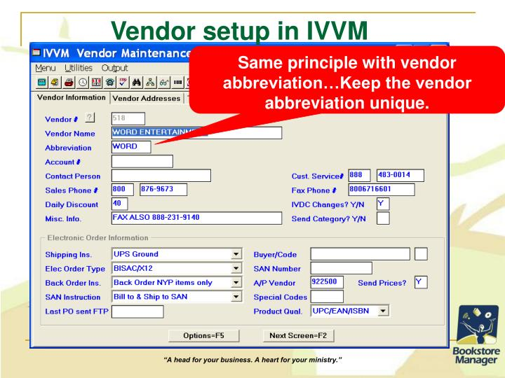 Vendor setup in IVVM