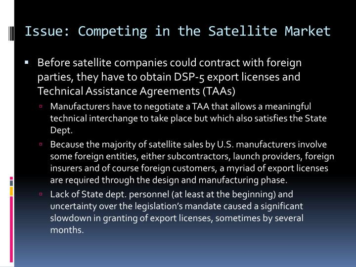 Issue: Competing in the Satellite Market