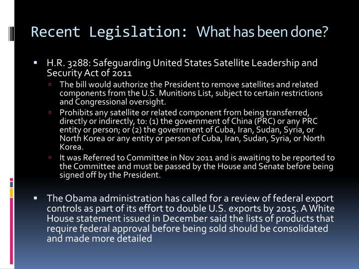 Recent Legislation: