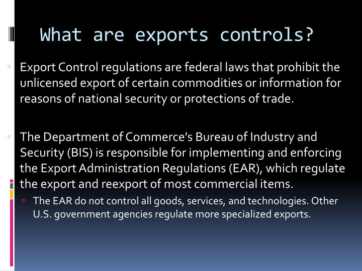 What are exports controls?