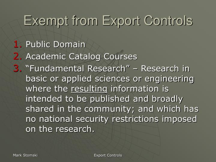 Exempt from Export Controls