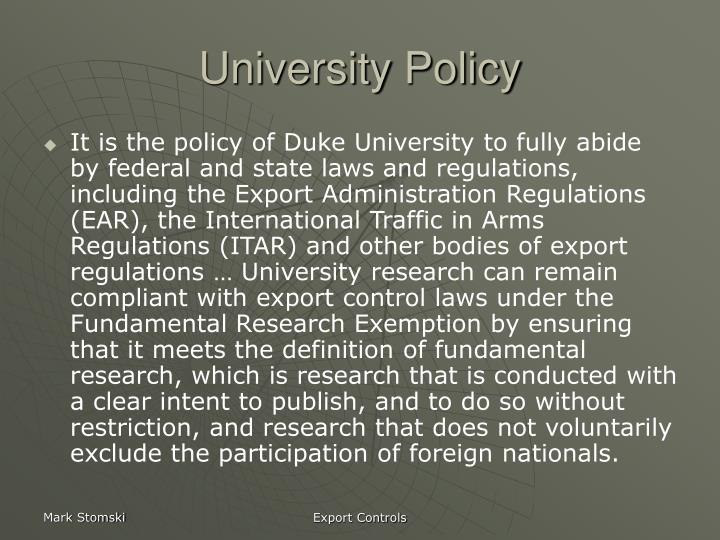 University Policy