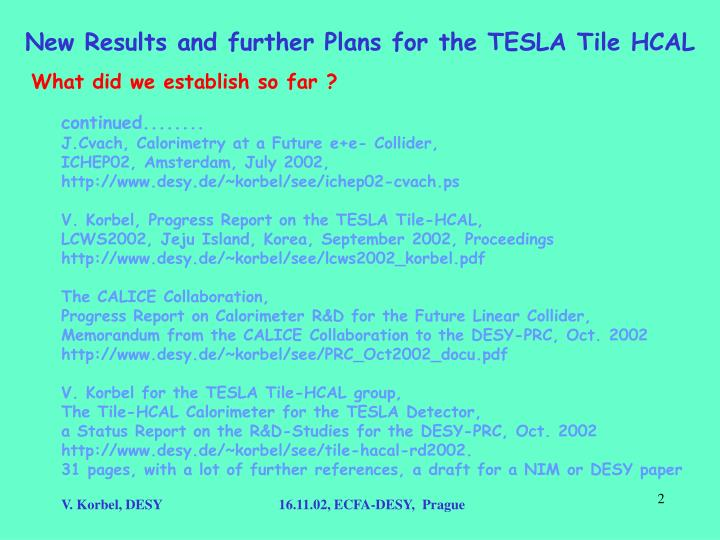 New results and further plans for the tesla tile hcal1