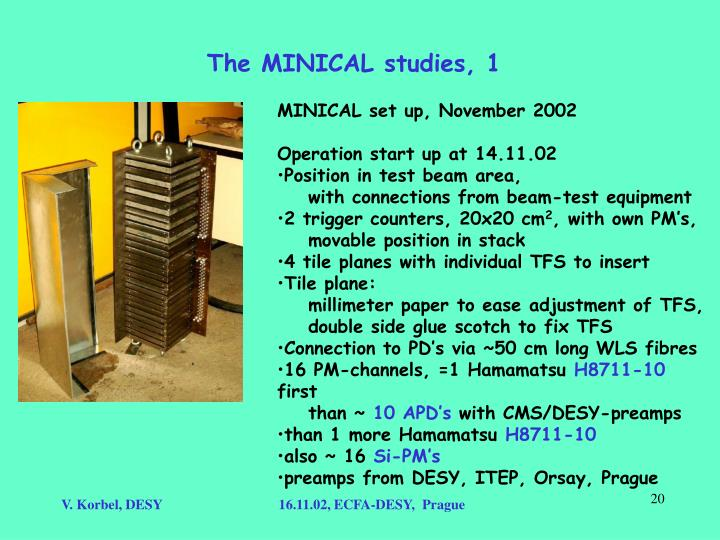 The MINICAL studies, 1