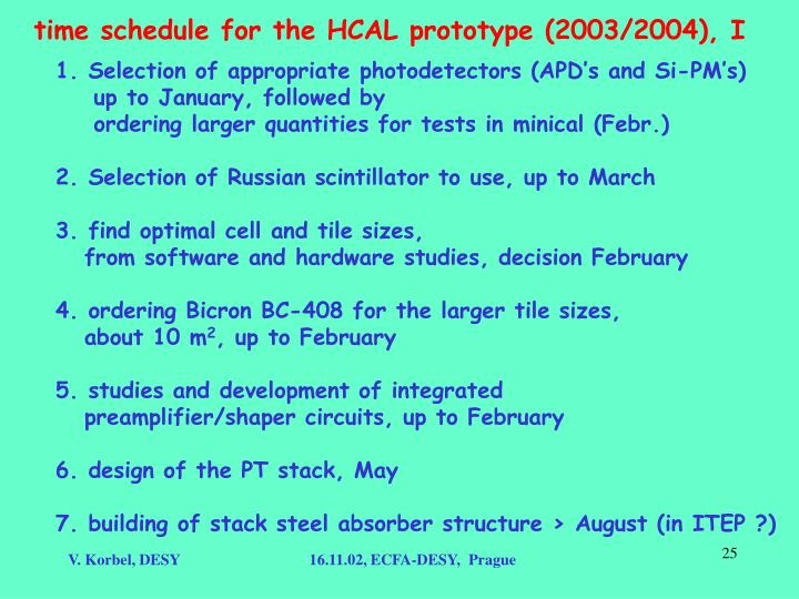time schedule for the HCAL prototype (2003/2004), I