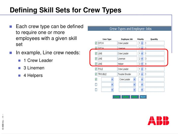 Defining Skill Sets for Crew Types