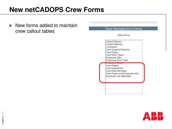 New netCADOPS Crew Forms